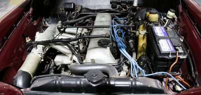 Fintail engine under the hood of Mercedes Benz 220SE 1964