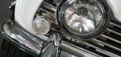 Triumph TR4 headlight closeup view